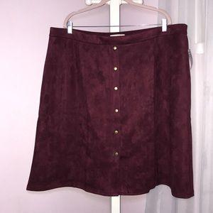 NWT Burgundy Suede Skirt!